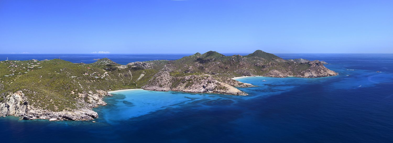 Gouverneur Aerial panoramic of St Barth island from a plane by photographer Stéphane Scotto