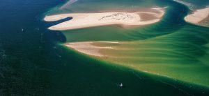 Vue aérienne du banc du Toulinguet sur le Bassin d'Arcachon par le photographe Stéphane Scotto