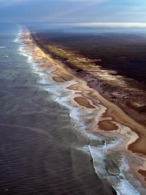 vue aérienne du Cap Ferret côté océan